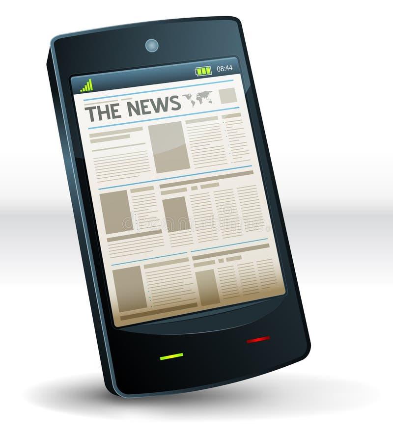 Газета внутри карманного мобильного телефона иллюстрация вектора