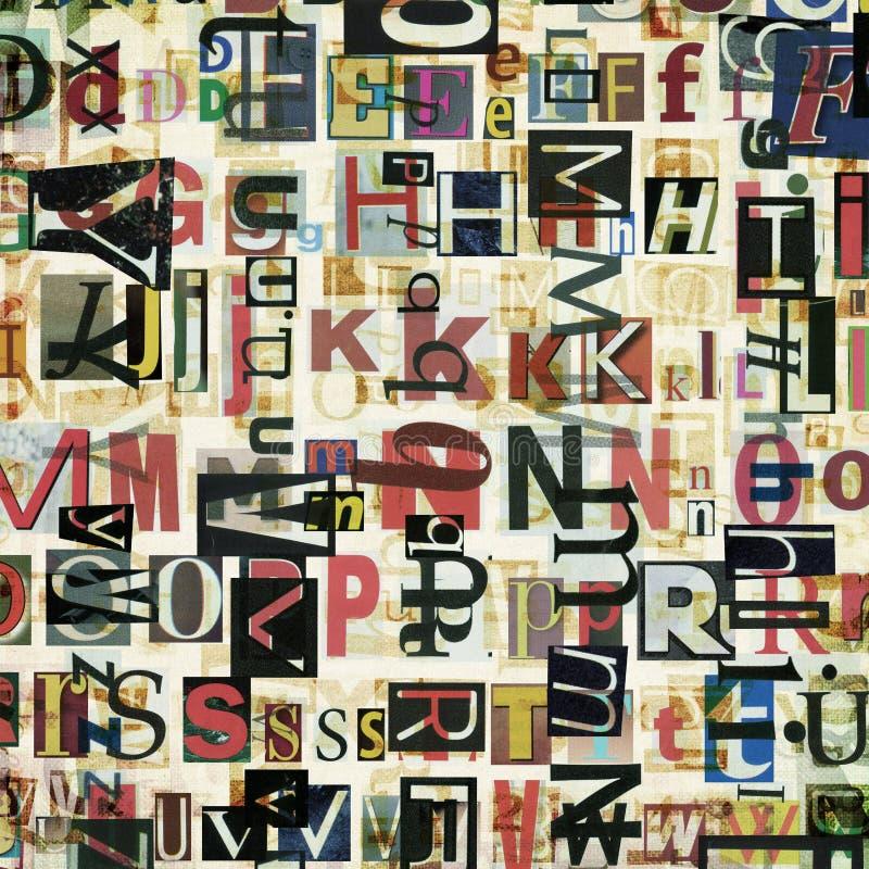 Газета, коллаж кассеты помечает буквами предпосылку стоковые изображения rf