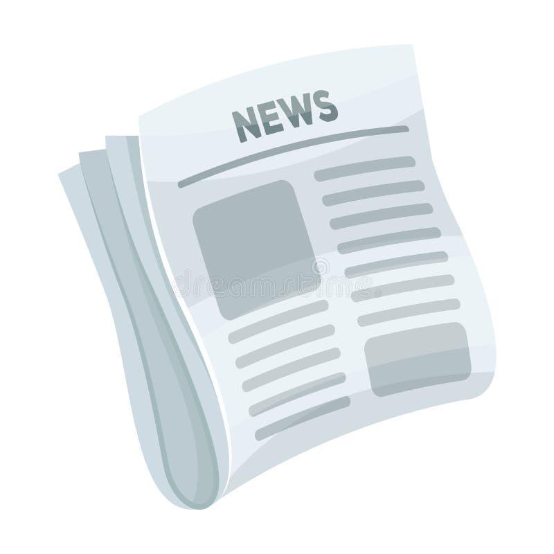 Газета, новости Бумага, для крышки сыщика который расследует случай Сыщицкий одиночный значок в стиле шаржа иллюстрация вектора