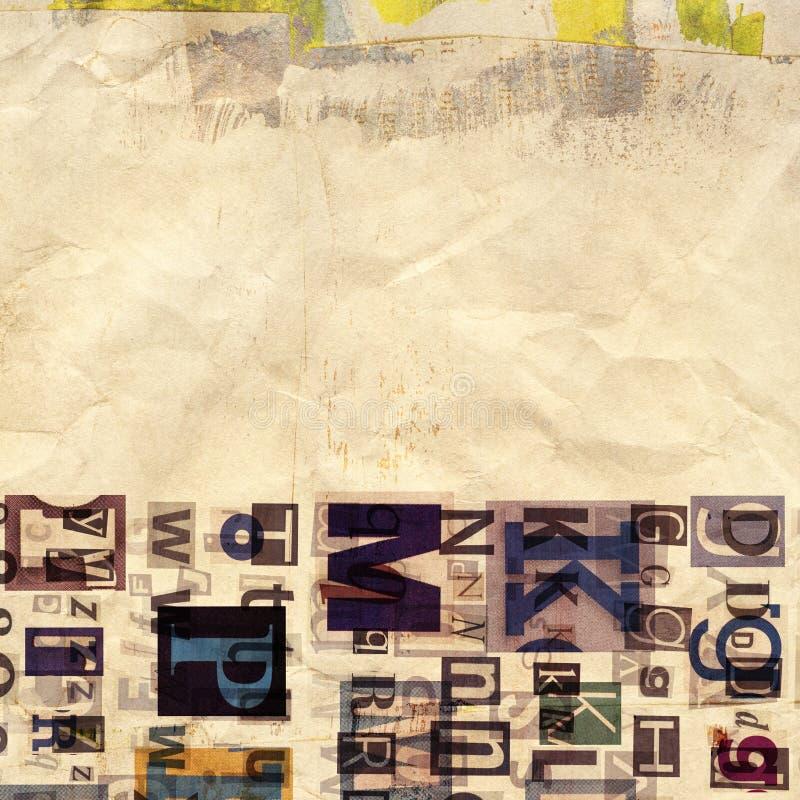 Газета, предпосылка коллажа кассеты стоковое фото rf