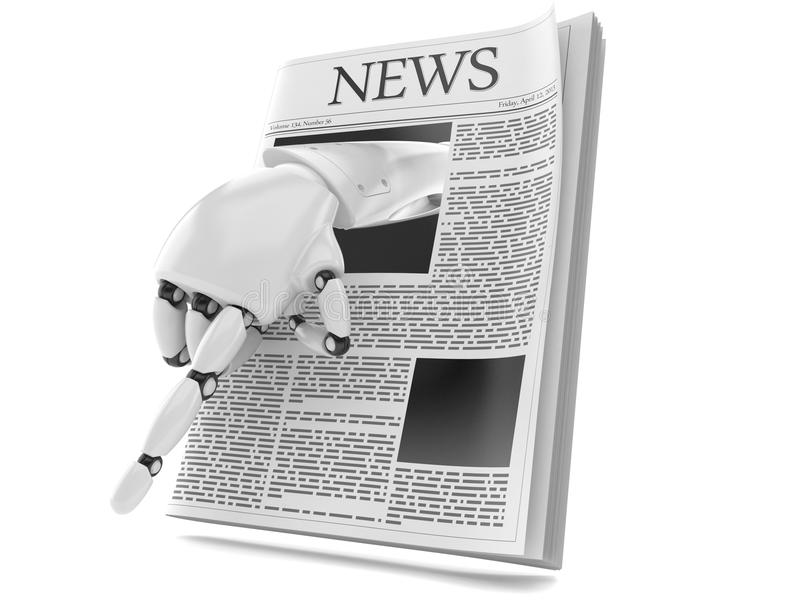 Газета с рукой робота иллюстрация вектора