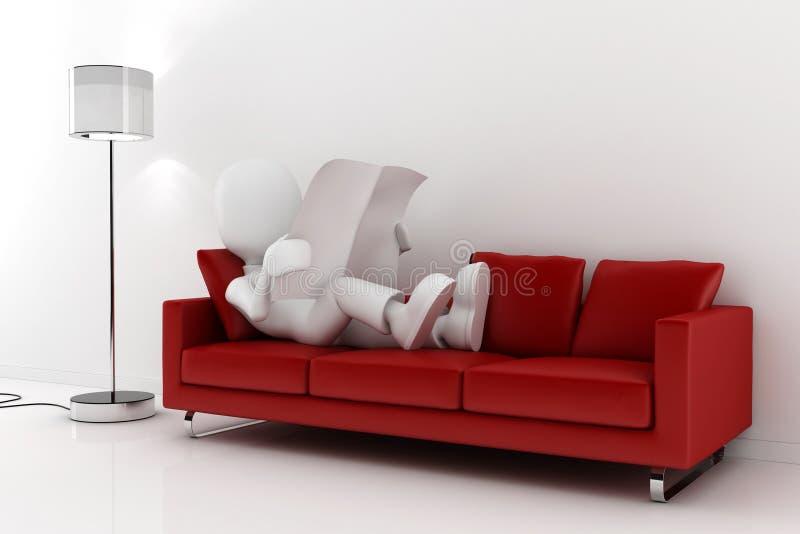 газета человека 3d читая красную софу бесплатная иллюстрация