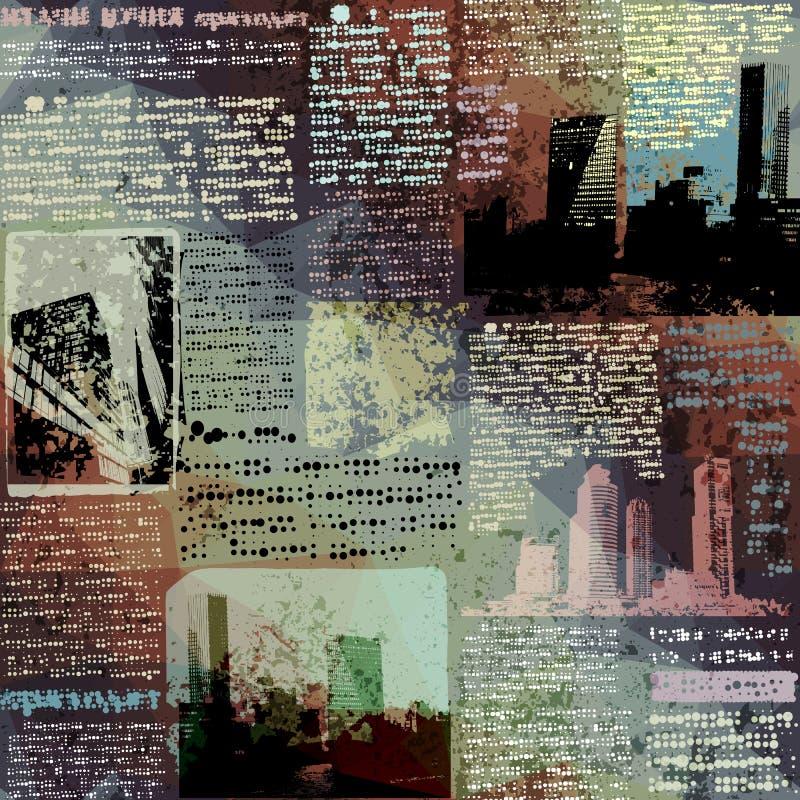 Газета Grunge с изображением города иллюстрация вектора