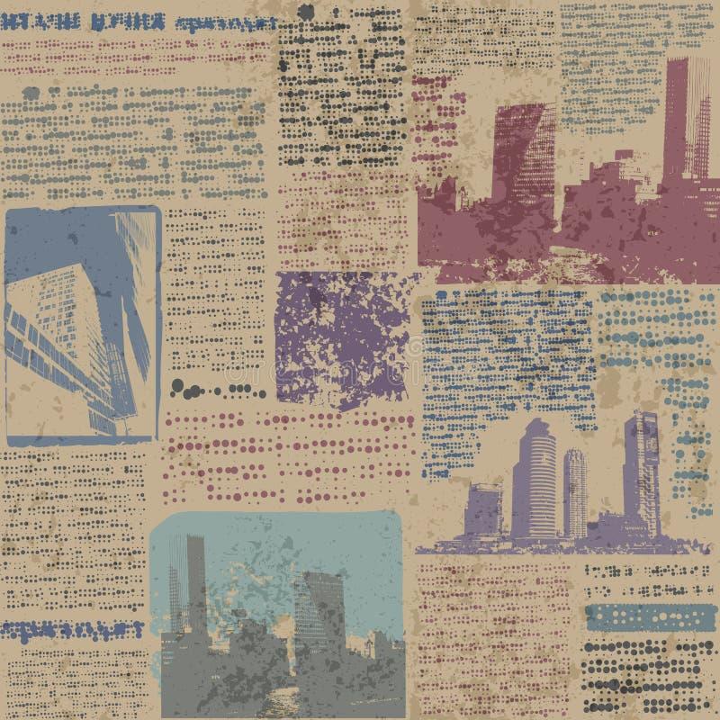 Газета Grunge с изображением города бесплатная иллюстрация