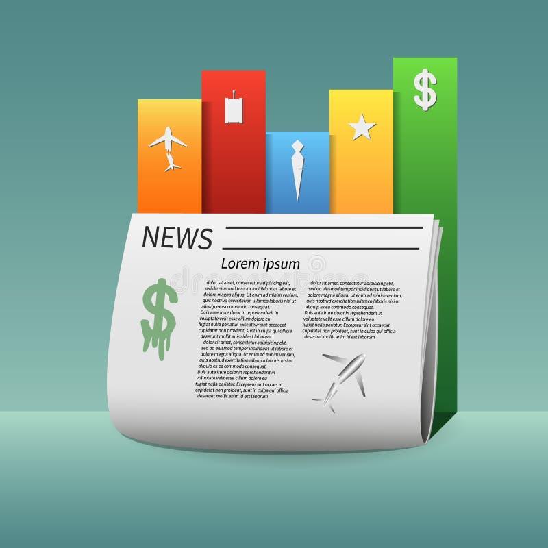 Газета Infographics и свои главным образом информационные сообщения стоковое изображение rf