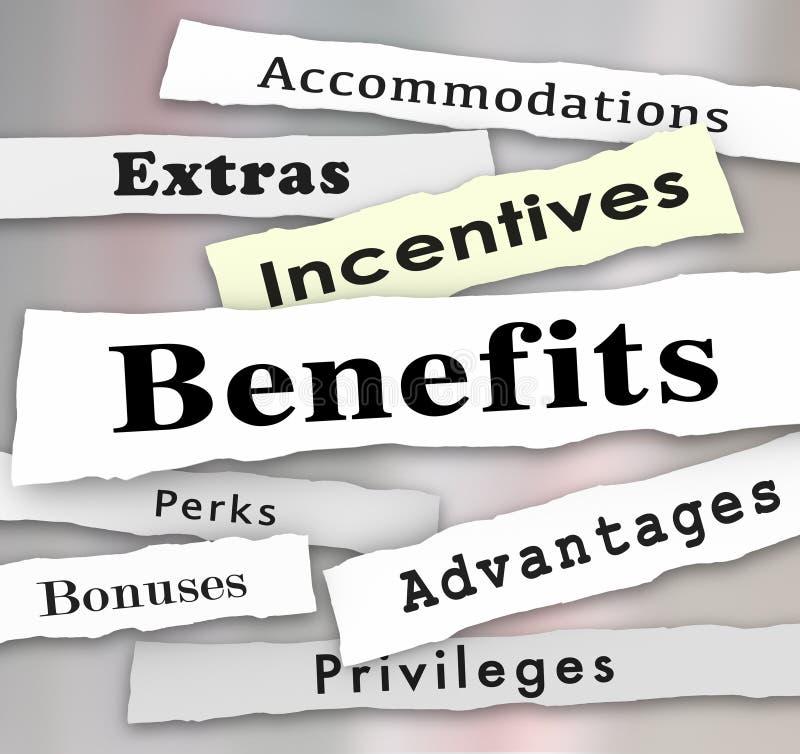 Газетные заголовки добавлений экстра бонусов стимулов преимуществ бесплатная иллюстрация