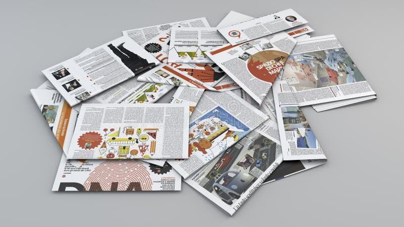 Газеты, обзор печати Газеты разбросанные на самолет Чтение газет Факты дня иллюстрация штока