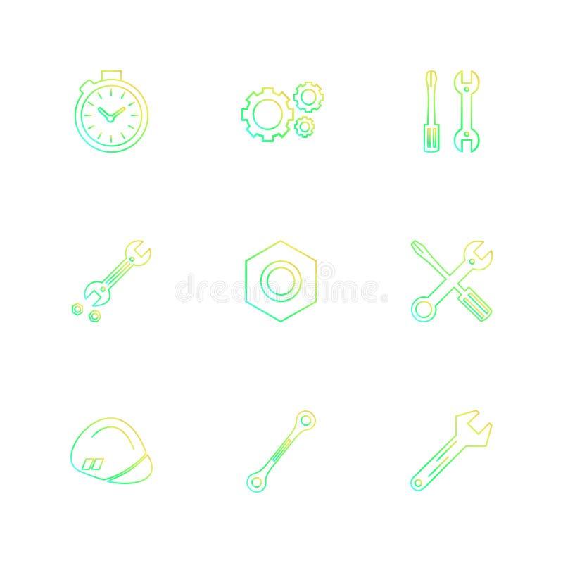 гайка, отвертка, ключ, секундомер, оборудование, инструменты, co иллюстрация штока