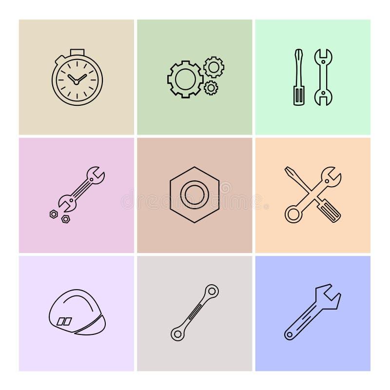 гайка, отвертка, ключ, секундомер, оборудование, инструменты, co иллюстрация вектора