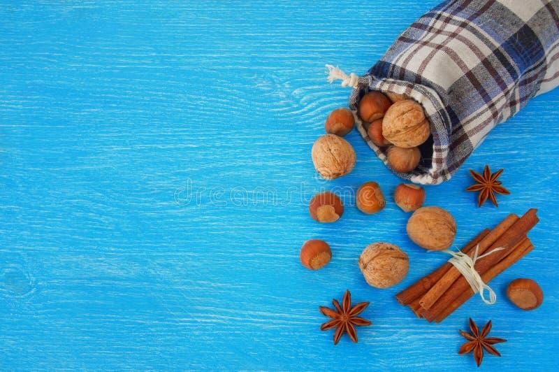 Гайки и специи рождества на голубой предпосылке стоковые изображения rf