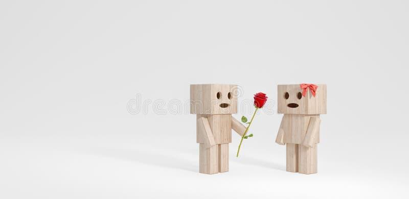 Гай дает девушке цветок, смешные деревянные характеры 3d для того чтобы представить бесплатная иллюстрация