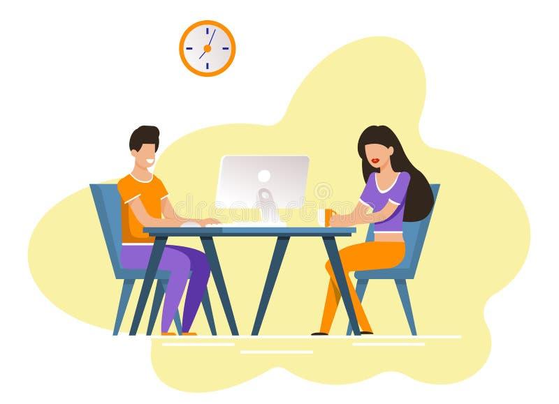Гай и девушка сидят на таблице с компьютером и кофе иллюстрация вектора