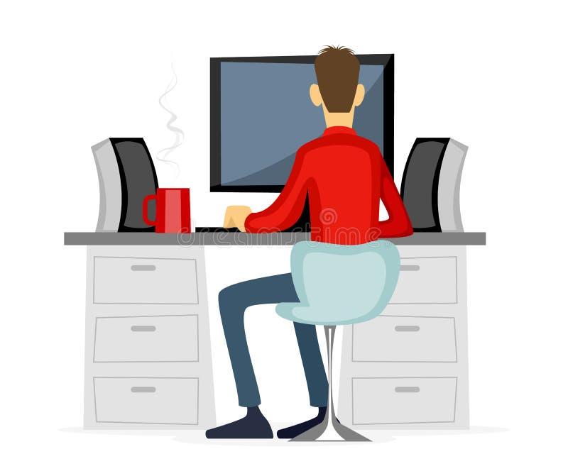 Гай работая на компьютере иллюстрация штока