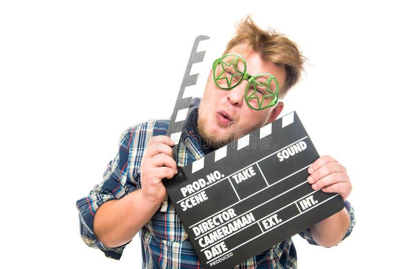 Гай с стеклами показывает смешную эмоцию стоковая фотография rf