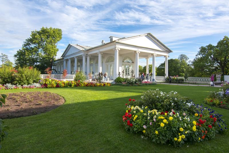 Галерея Камерона в парке Катрина, Tsarskoe Selo, Санкт-Петербурге, России стоковое фото rf