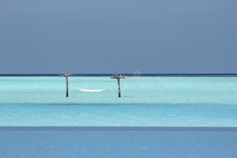 Гамак в воде в Мальдивах стоковые изображения