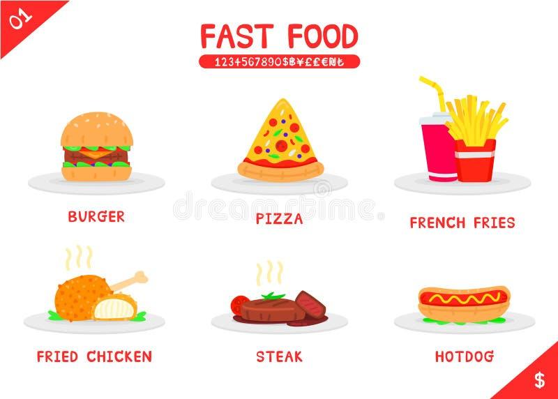 гамбургера градиентов быстро-приготовленное питания собаки пузыря произведения искысства слои editable горячие отсутствие использ иллюстрация вектора