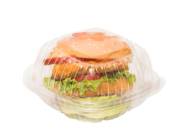 Гамбургер в коробке взятия отсутствующей стоковые фотографии rf