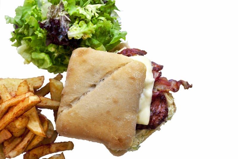 Гамбургер и французский картофель фри стоковое фото rf