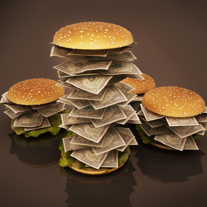 Гамбургер с деньгами иллюстрация вектора