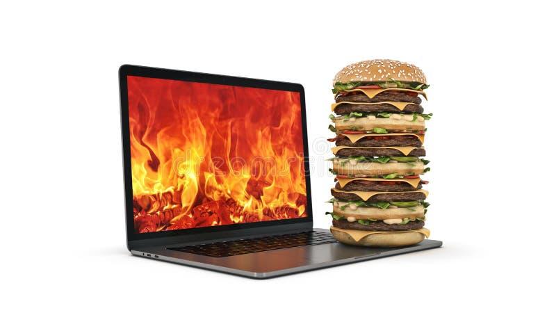 Гамбургер с ноутбуком 3d иллюстрация штока