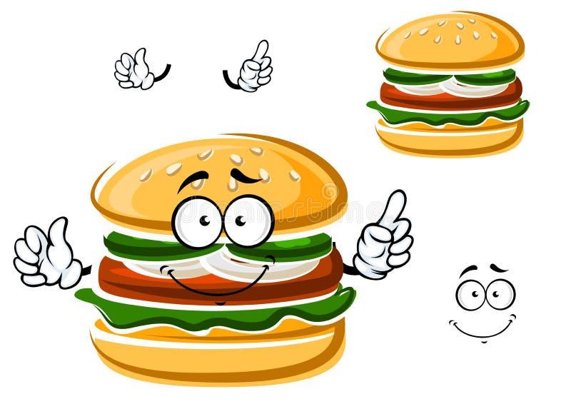 Гамбургер шаржа смешной с овощами иллюстрация вектора