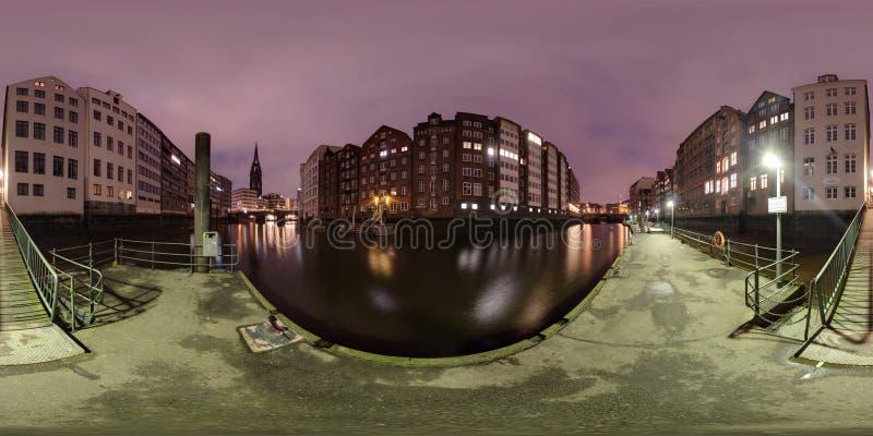 Гамбург взгляд улицы панорамы 360 градусов стоковая фотография rf