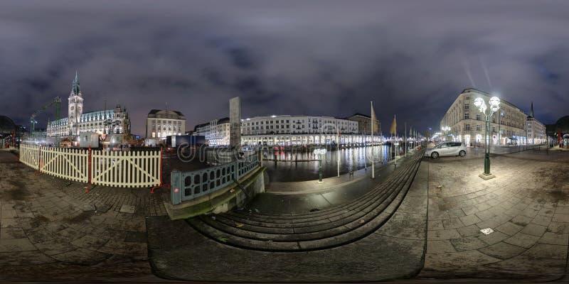Гамбург взгляд улицы панорамы 360 градусов стоковая фотография