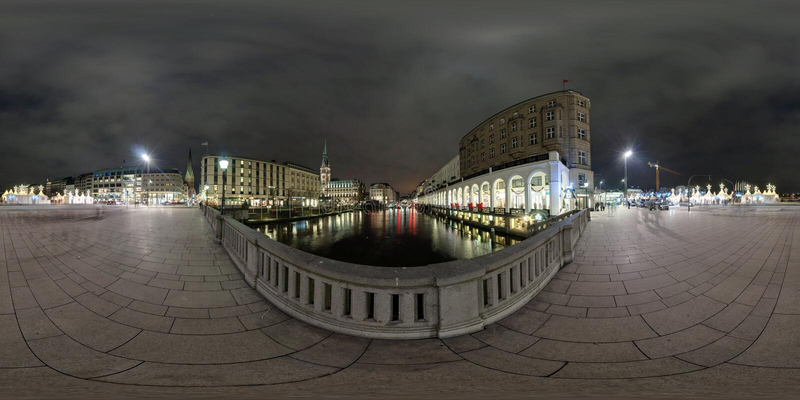 Гамбург взгляд улицы панорамы 360 градусов стоковые фотографии rf