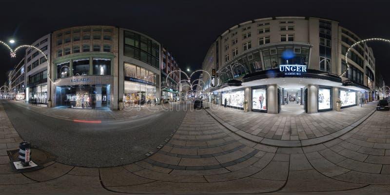 Гамбург взгляд улицы панорамы 360 градусов стоковое фото rf