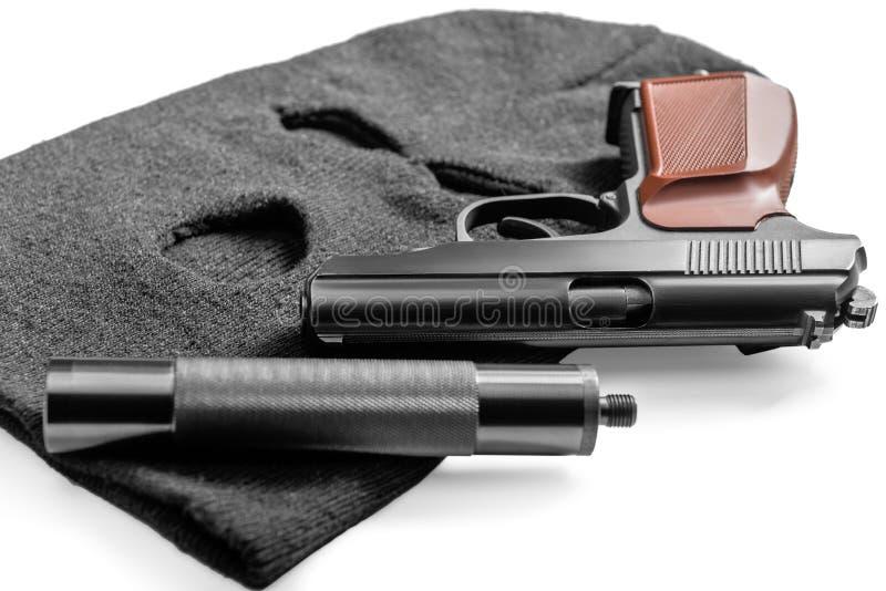 гангстер объектов концепции преступления - балаклава и оружие стоковые фотографии rf