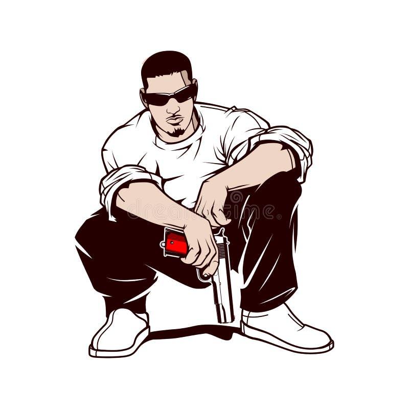 Гангстер с оружием бесплатная иллюстрация