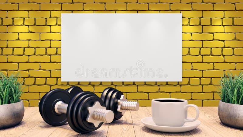 2 гантели и чашка кофе на деревянном столе Концепция для плана разминки Желтая кирпичная стена иллюстрация 3d иллюстрация вектора