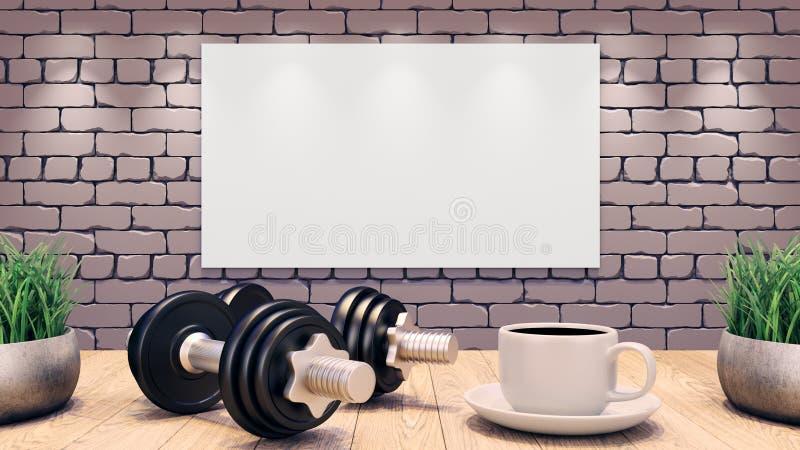 2 гантели и чашка кофе на деревянном столе Шаблон разминки стена кирпича предпосылки серая текстурированная иллюстрация 3d иллюстрация вектора