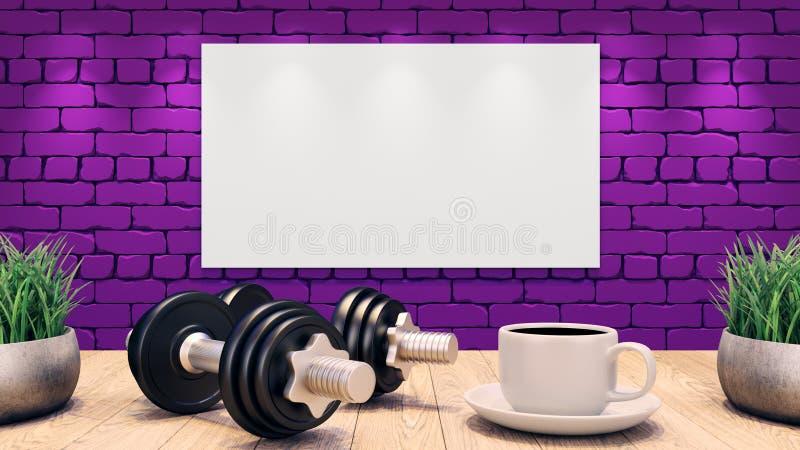 2 гантели и чашка кофе на деревянном столе Mosk вверх по плакату на пурпурной кирпичной стене иллюстрация 3d бесплатная иллюстрация