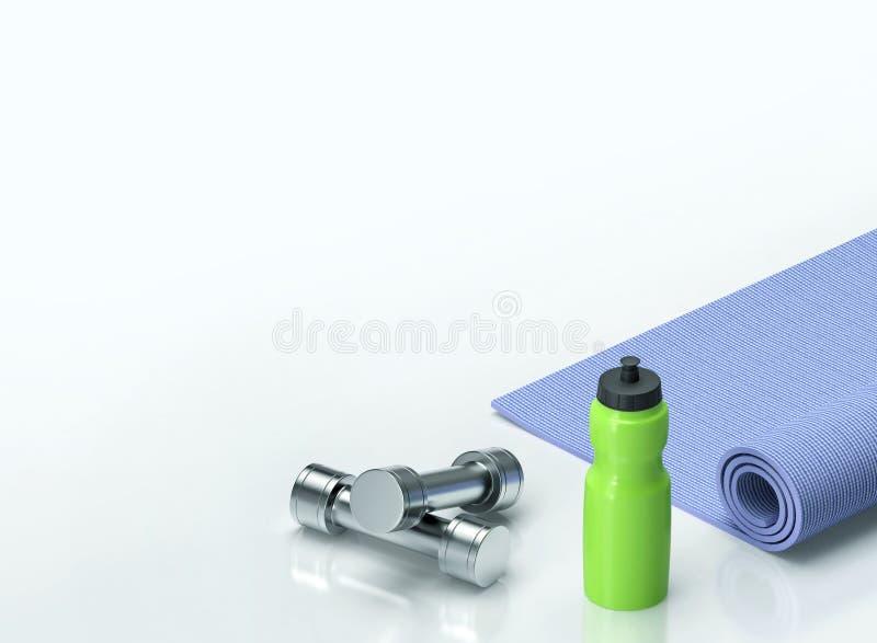 Гантели, циновка фитнеса и бутылка воды иллюстрация штока