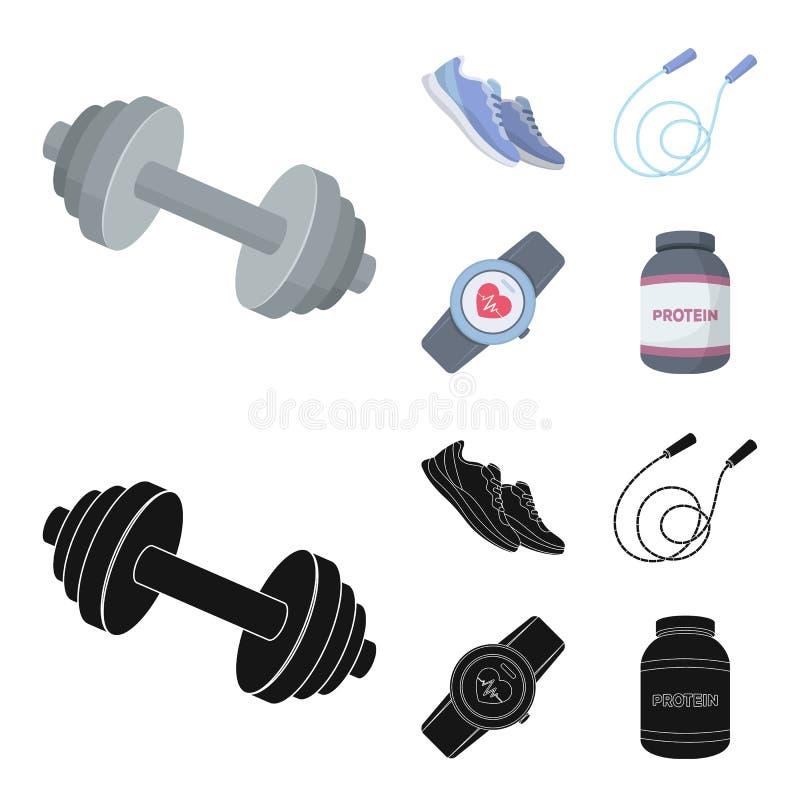 Гантель, веревочка и другое оборудование для тренировки Спортзал и значки собрания разминки установленные в шарже, черном векторе иллюстрация штока