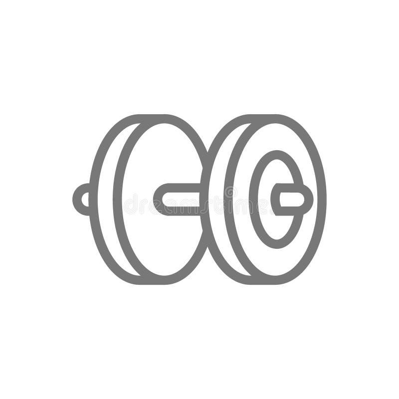 Гантель, kettlebells и линия значок штанги иллюстрация вектора