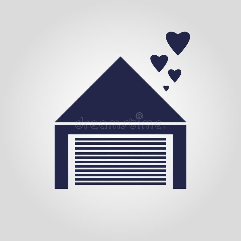 Гараж влюбленности с дизайном вектора сердца изолированным значком бесплатная иллюстрация
