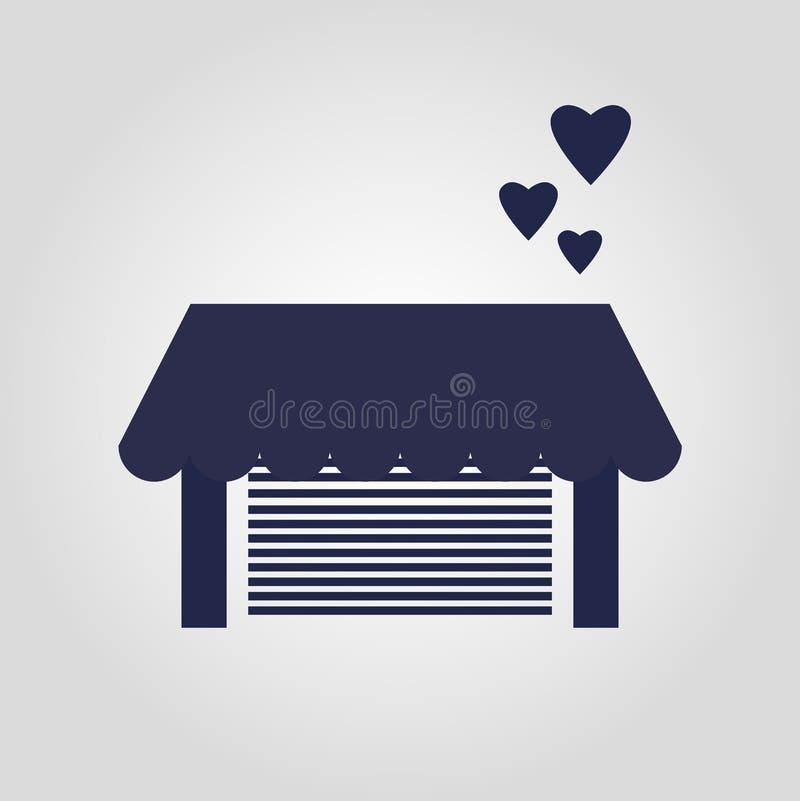 Гараж влюбленности с дизайном сердца изолированным значком иллюстрация штока