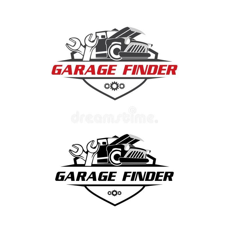 Гараж и вектор логотипа искателя ремонта таможни бесплатная иллюстрация