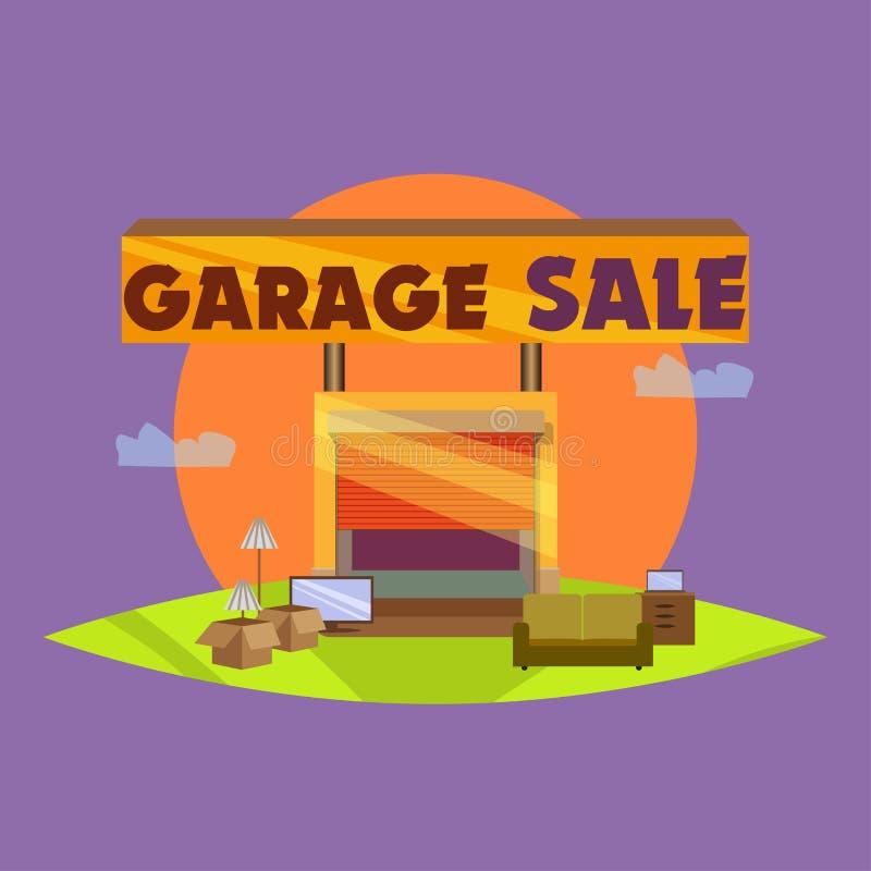 Гараж или распродажа с деталями знаков, коробки и домочадца стоковое изображение rf