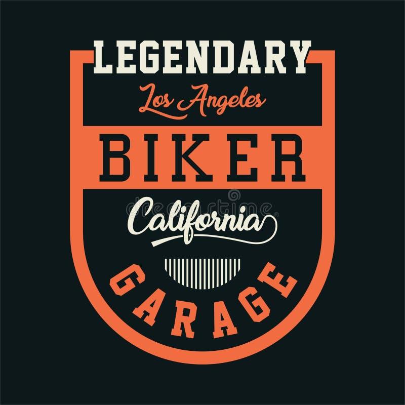 Гараж Калифорнии велосипедиста иллюстрация вектора