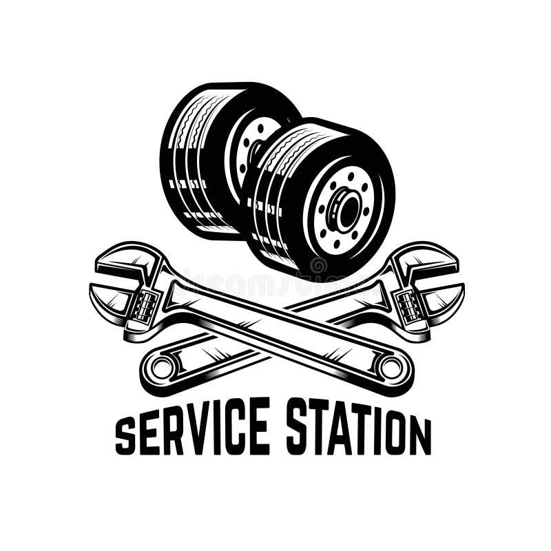 гараж Обслуживайте станцию Ремонт автомобиля Конструируйте элемент для логотипа, ярлыка, эмблемы, знака иллюстрация штока