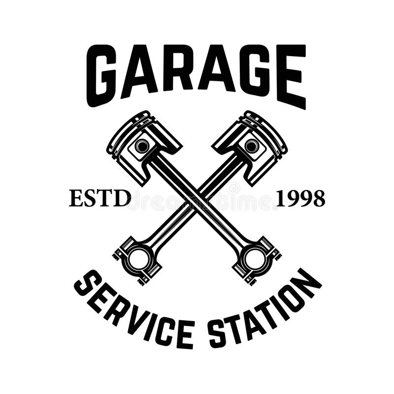 гараж Обслуживайте станцию Эмблема с пересеченными поршенями Ремонт автомобиля Конструируйте элемент для логотипа, ярлыка, эмблем иллюстрация вектора