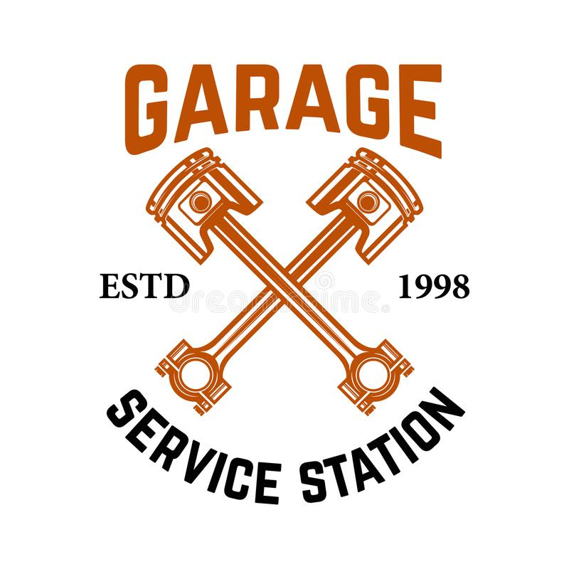 гараж Обслуживайте станцию Эмблема с пересеченными поршенями Ремонт автомобиля Конструируйте элемент для логотипа, ярлыка, эмблем бесплатная иллюстрация