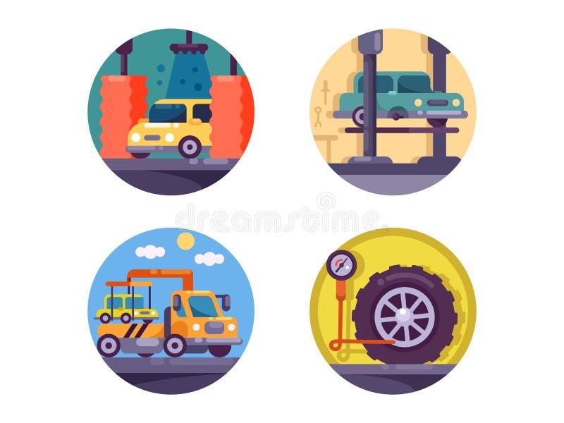 Гараж обслуживания автомобиля иллюстрация вектора