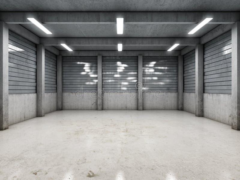 Гараж открытого пространства пустой иллюстрация штока