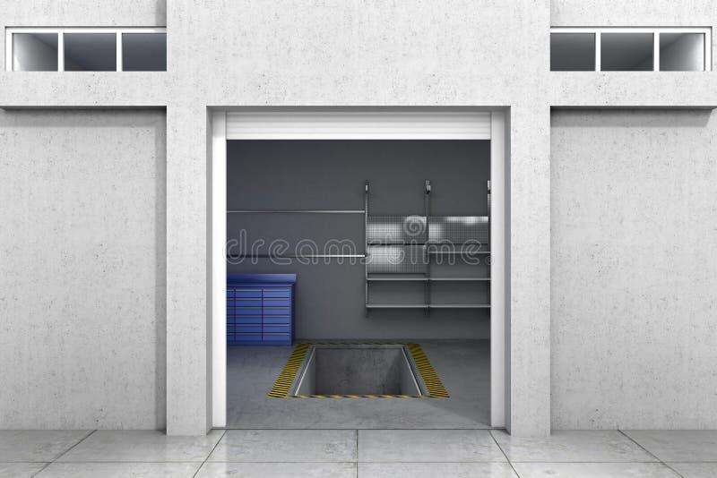 гараж открытый иллюстрация 3d иллюстрация вектора