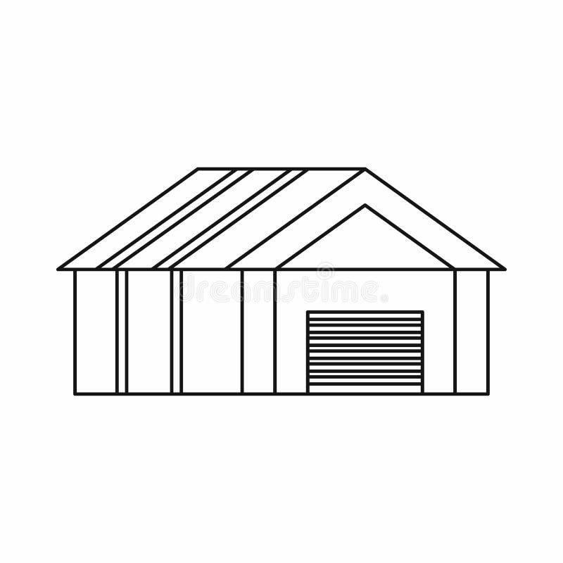 Гараж с автоматическим значком строба, стилем плана бесплатная иллюстрация